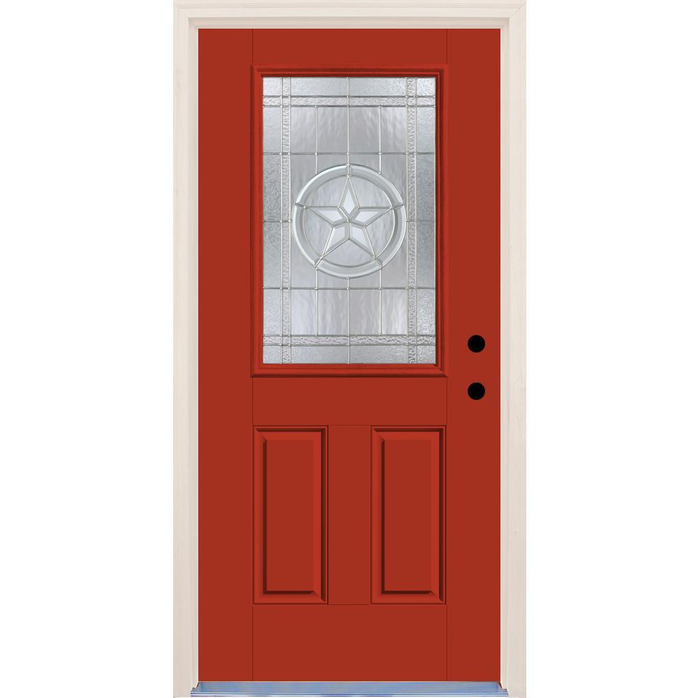 36 in. x 80 in. Left-Hand Texas Star 1/2 Lite Decorative Glass Engine Fiberglass Prehung Front Door with Brickmould