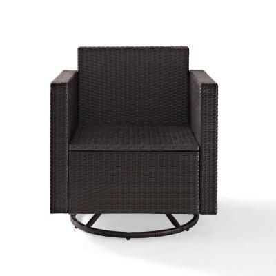 Palm Harbor Swivel Wicker Outdoor Lounge Chair with Grey Cushions