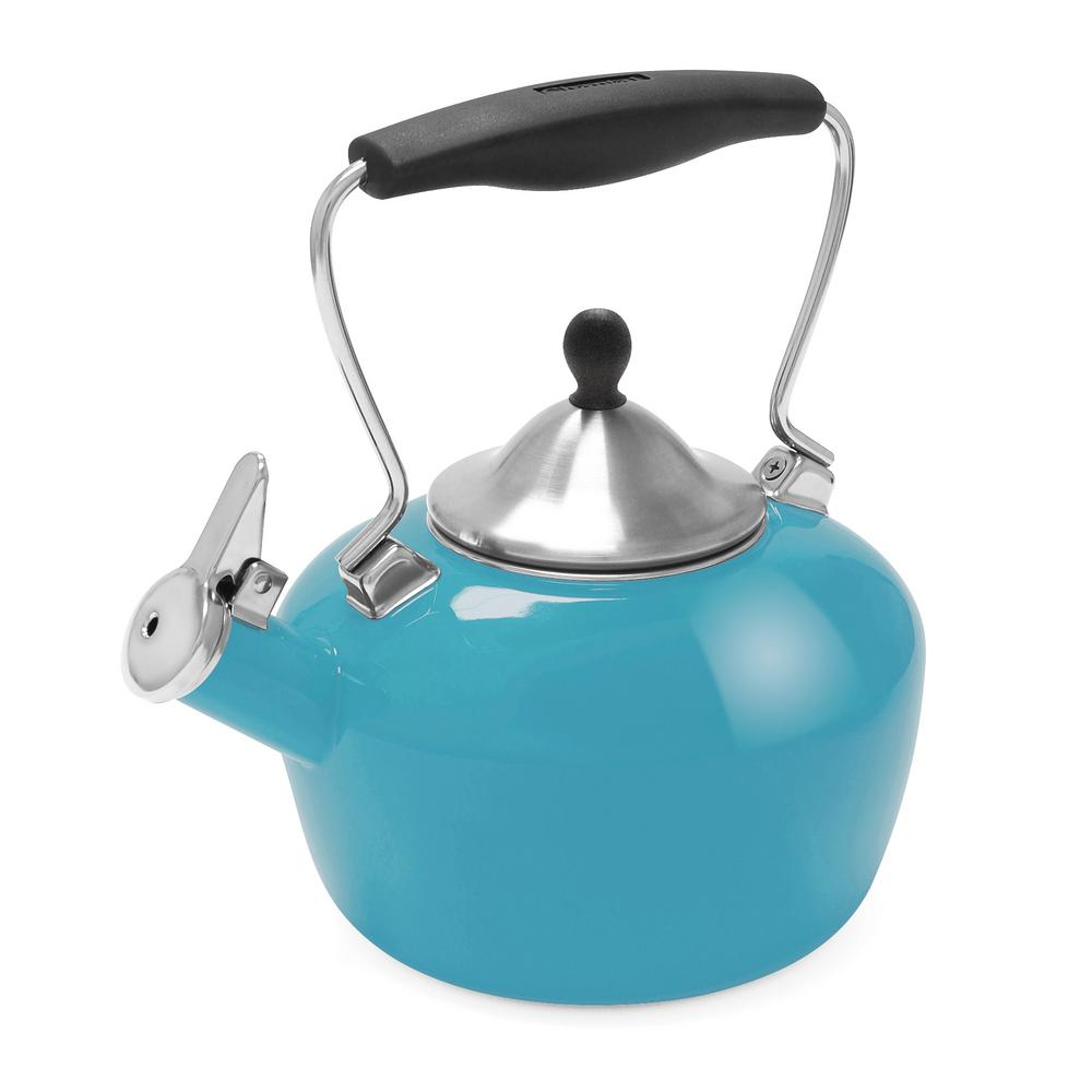 Catherine 7.2-Cups Enamel-on-Steel Sea Blue Tea Kettle