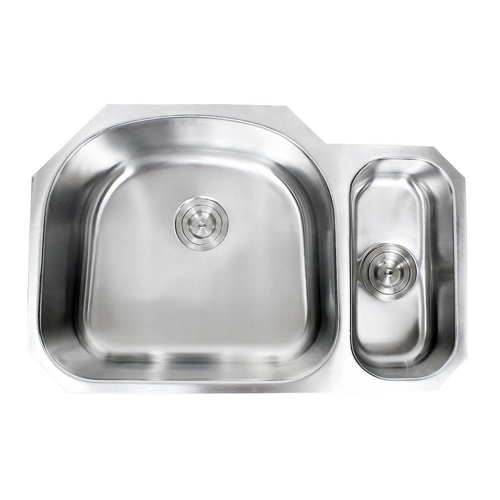 Undermount 16-Gauge Stainless Steel 32 in. x 20-7/8 in. x 9 in. 80/20 Offset Double Bowl Kitchen Sink