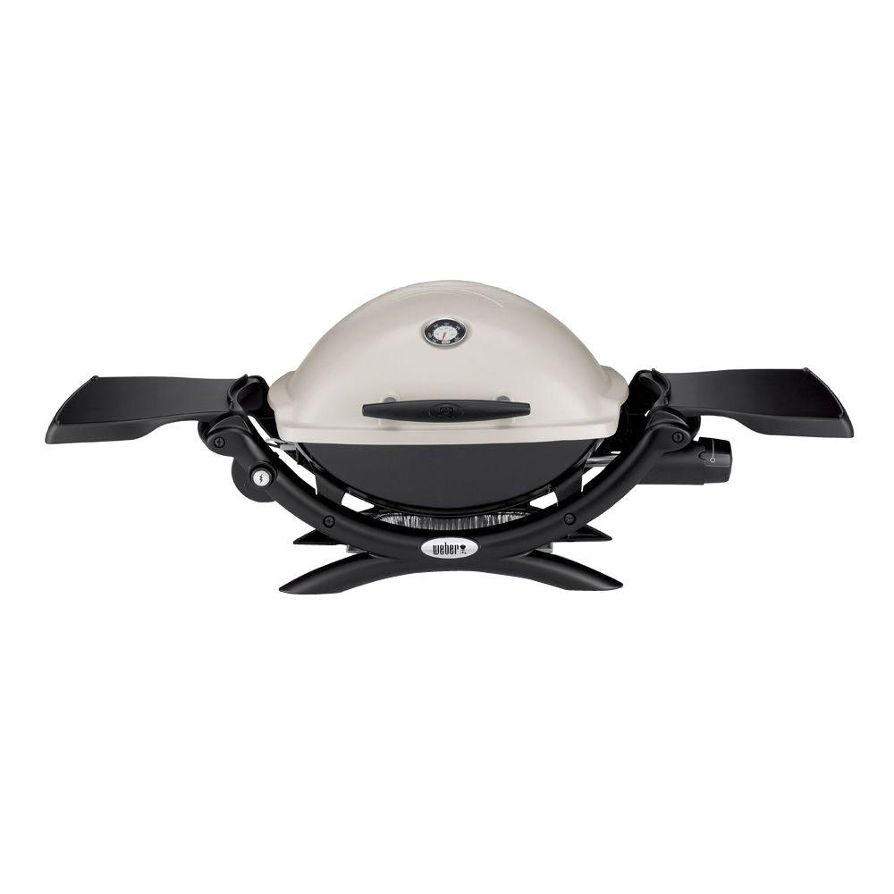Q 1200 1-Burner Portable Tabletop Propane Gas Grill in Titanium with