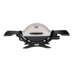 weber q 1200 1 burner portable tabletop propane gas grill in titanium with built in thermometer. Black Bedroom Furniture Sets. Home Design Ideas