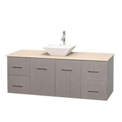 Centra 60 in. Vanity in Gray Oak with Marble Vanity Top in Ivory and Porcelain Sink