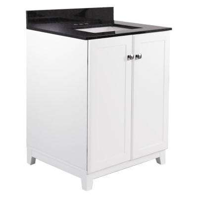 24 in. x 21 in. x 33 in. 2-Door Bath Vanity in White with Black Pearl Granite Vanity Top with Rectangle Basin in White