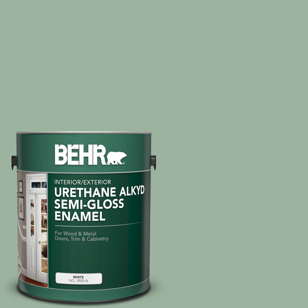 BEHR 1 gal. #S410-4 Copper Patina Urethane Alkyd Semi-Gloss Enamel Interior/Exterior Paint