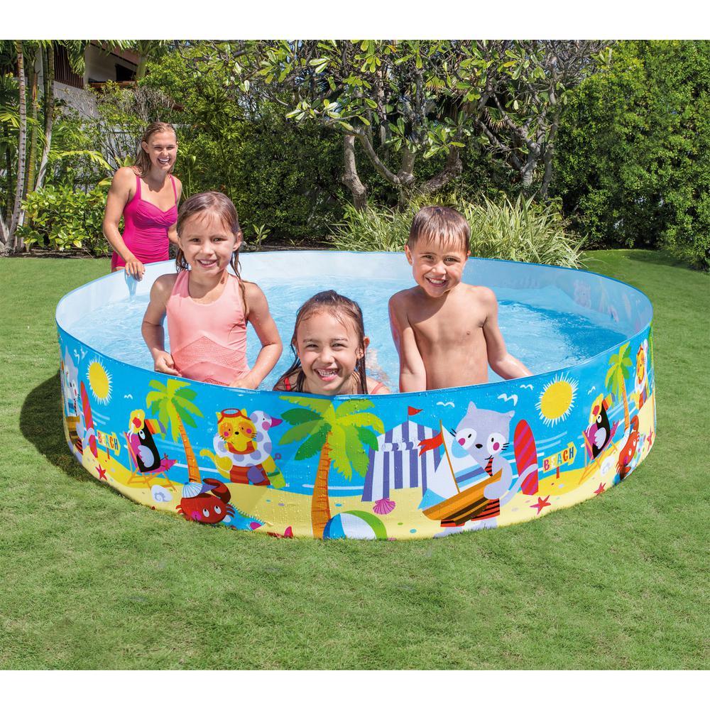 Intex Seahorse Buddies Kids 8 Foot Instant Kiddie Water SnapSet Swimming Pool