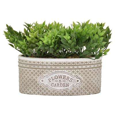 8 in. Faux Greenery in Flower Pot in Green