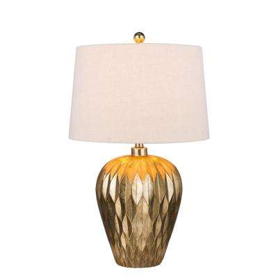 29.5 in. Gold Resin Table Lamp with Paper Lantern Fold Effect