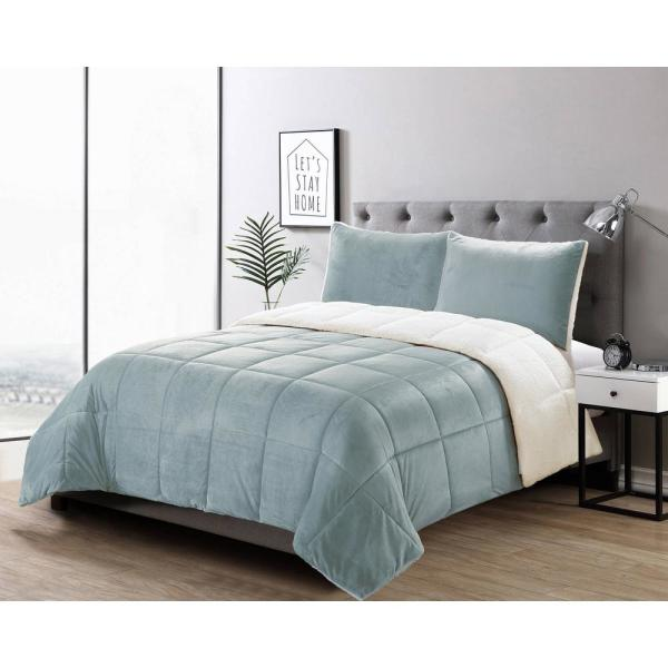 Casual Living Micromink 3-Piece Grey Full/Queen Comforter Set 13336
