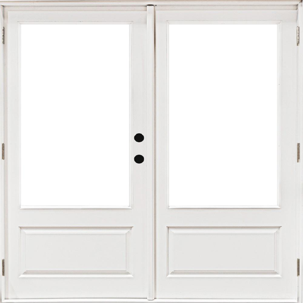 MP Doors 72 in. x 80 in. Fiberglass Smooth White Left-Hand Outswing Hinged 3/4 Lite Patio Door