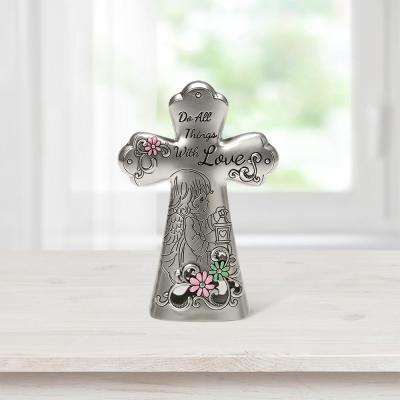 Tabletop Cross Zinc Alloy Do All Things With Love Mini Figurine