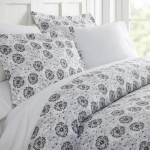 Make A Wish Patterned Performance Light Gray King 3-Piece Duvet Cover Set