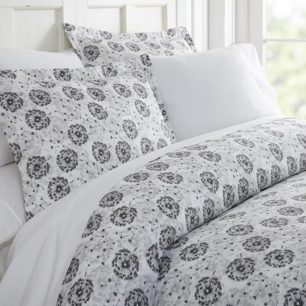 Becky Cameron Make A Wish Patterned Performance Light Gray Queen 3-Piece Duvet Cover Set
