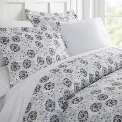 Make A Wish Patterned Performance Light Gray Twin 3-Piece Duvet Cover Set