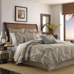 Tommy Bahama Raffia Palms Brown Cotton 4-Piece King Comforter Set