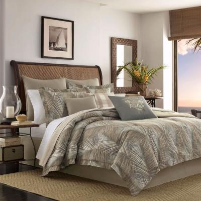 Raffia Palms Brown Cotton 4-Piece King Comforter Set