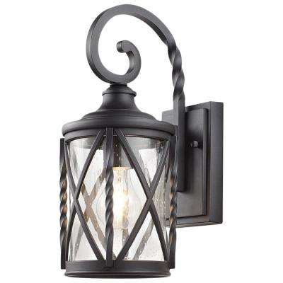1-Light Black 14.5 in. Outdoor Wall Lantern Sconce with Seeded Glass