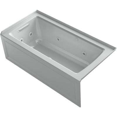 Archer 60 in. Left-Hand Drain Rectangular Apron Front Whirlpool and Air Bath Bathtub in Ice Grey