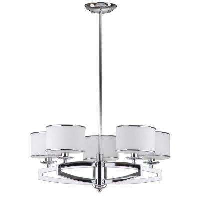 Lenora Drum 5-Light Chrome Pendant Chandelier with Etched White Shade