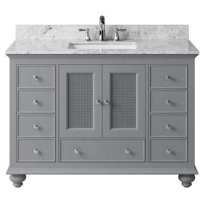 Aerin 47.32 in. W x 21.65 in. D x 33.86 in. H Bath Vanity in Taupe Grey with Marble Vanity Top in White with White Basin