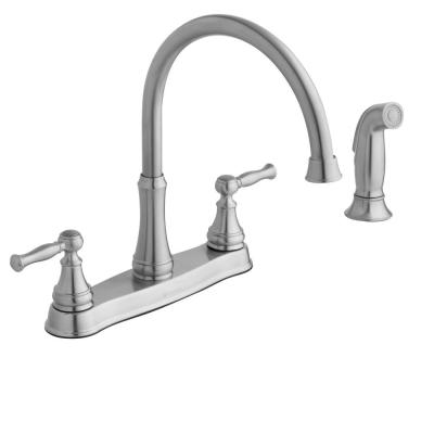 Fairway 2-Handle Standard Kitchen Faucet with Side Sprayer in Stainless Steel