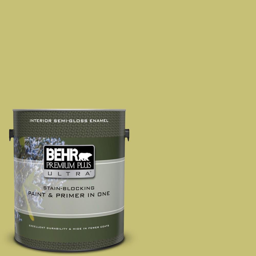 Behr Premium Plus Ultra 1 Gal Ppu9 07 Fresh Sprout Semi Gloss Enamel Interior Paint And Primer In One 375401 The Home Depot