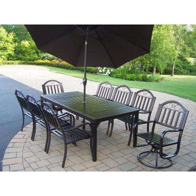 11 Piece Metal Outdoor Dining Set With Brown Umbrella