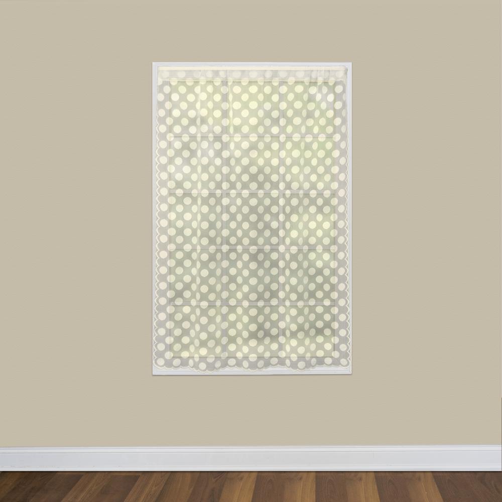 Polka Dot 58 in. W x 63 in. L Lace Window Panel in Cafe