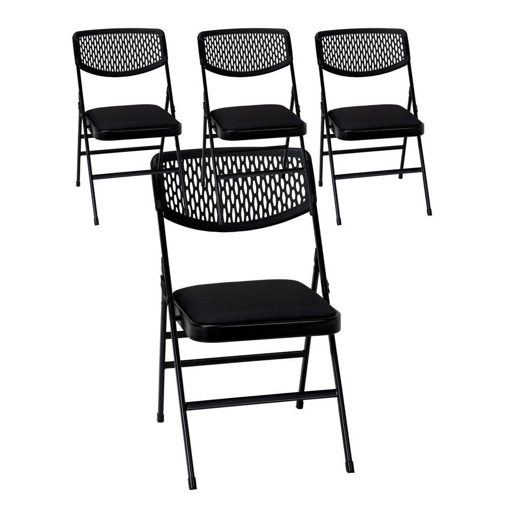 Cosco Commercial Black Metal Folding Chair With Fabric Padded Seat And  Resin Mesh Back (Set