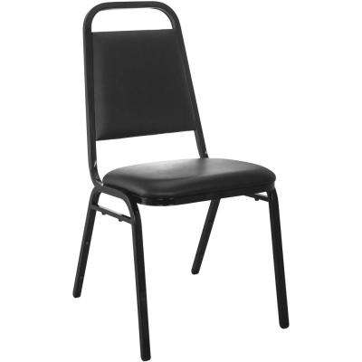 Black Vinyl-padded Stackable Banquet Chairs (Set of 2)
