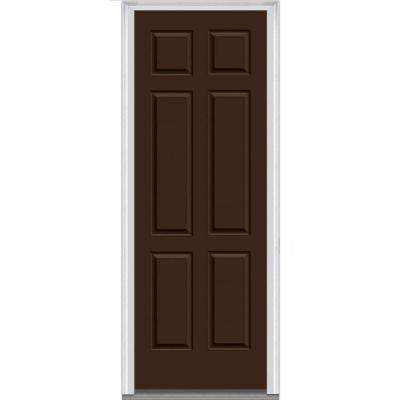 32 in. x 96 in. Right Hand Inswing Classic 6-Panel Painted Steel Prehung Front Door with Brickmould