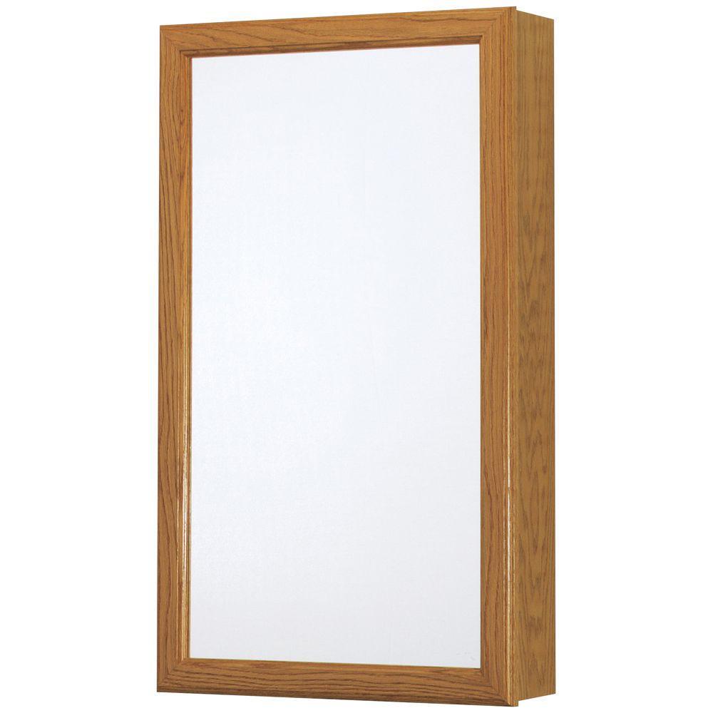 15-1/4 in. W x 26 in. H Framed Surface-Mount Swing-Door Bathroom Medicine Cabinet in Oak