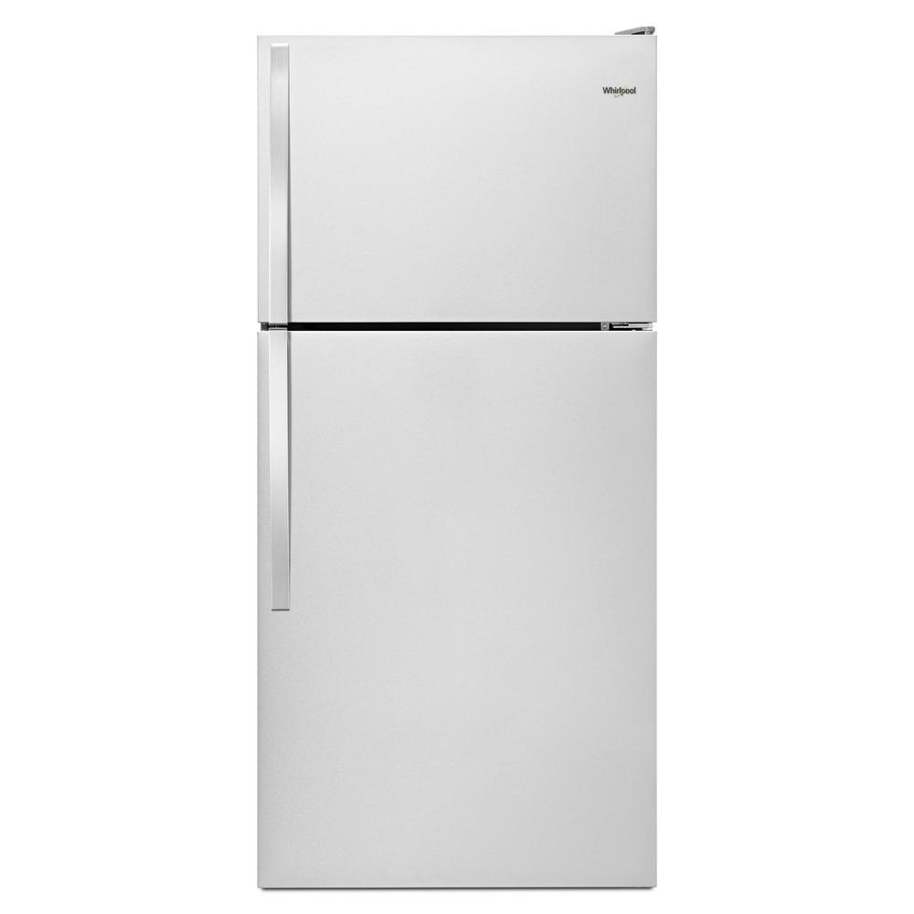 Whirlpool 14 Cu Ft Top Freezer Refrigerator In Monochromatic Stainless Steel