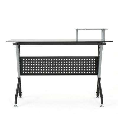 Valeta Black Tempered Glass Computer Desk with Gray Metal Frame