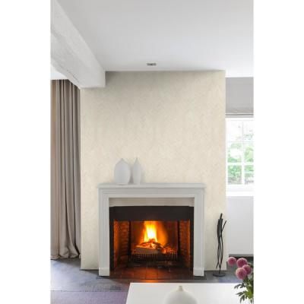 Light Gold Herringbone Wallpaper