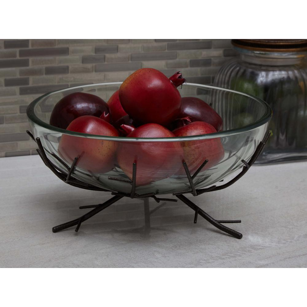 Natural Reflections Glass and Iron Decorative Bowl with Twig Stands