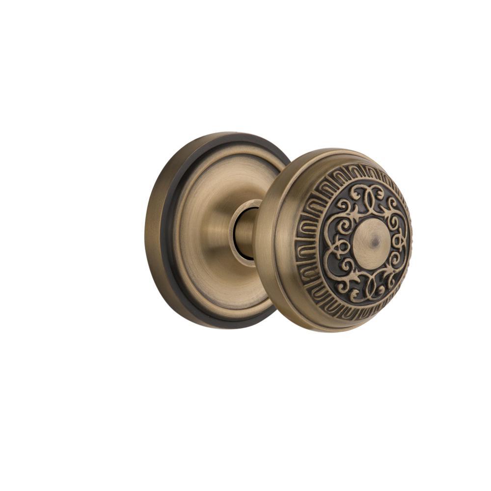 Classic Rosette 2-3/8 in. Backset Antique Brass Egg and Dart Door Knob