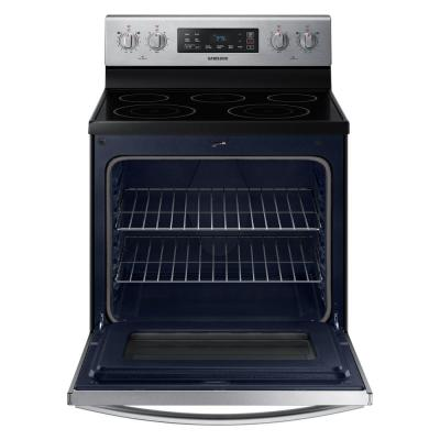 30 in. 5.9 cu. ft. Freestanding Electric Range with Self Cleaning and 5-Burners in Stainless Steel