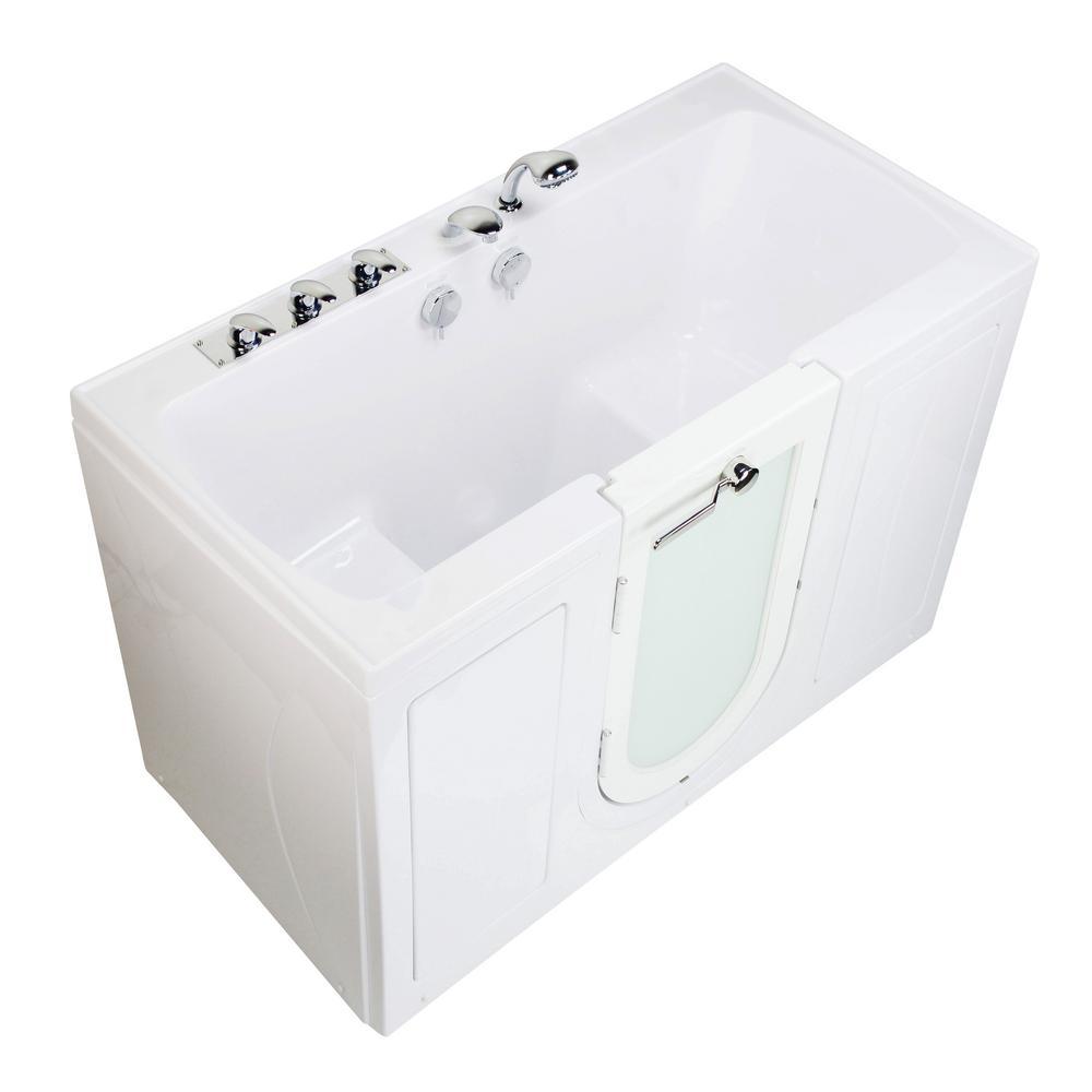 Tub4Two 60 in. Acrylic Walk-In Soaking Bathtub in White Left Outward Door Fast Fill Faucet 2 in. Dual Drain