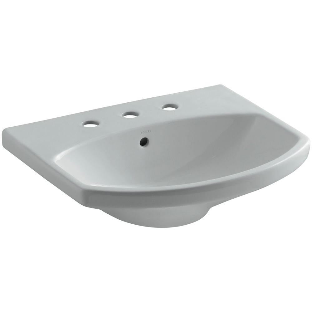 KOHLER Cimarron 7 in. Vitreous China Pedestal Sink Basin in Ice Grey with Overflow Drain