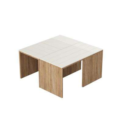 Cameron Oak and White Modern Coffee Table