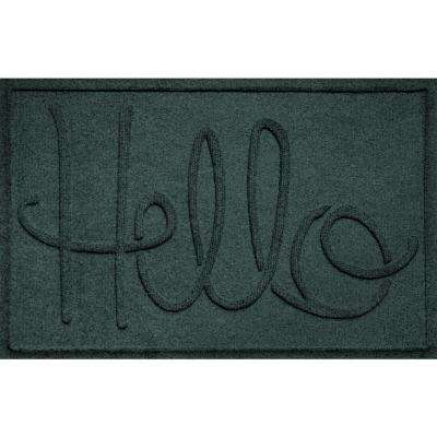 Elegant Simple Hello Evergreen 24 In. X 36 In. Polypropylene Door Mat