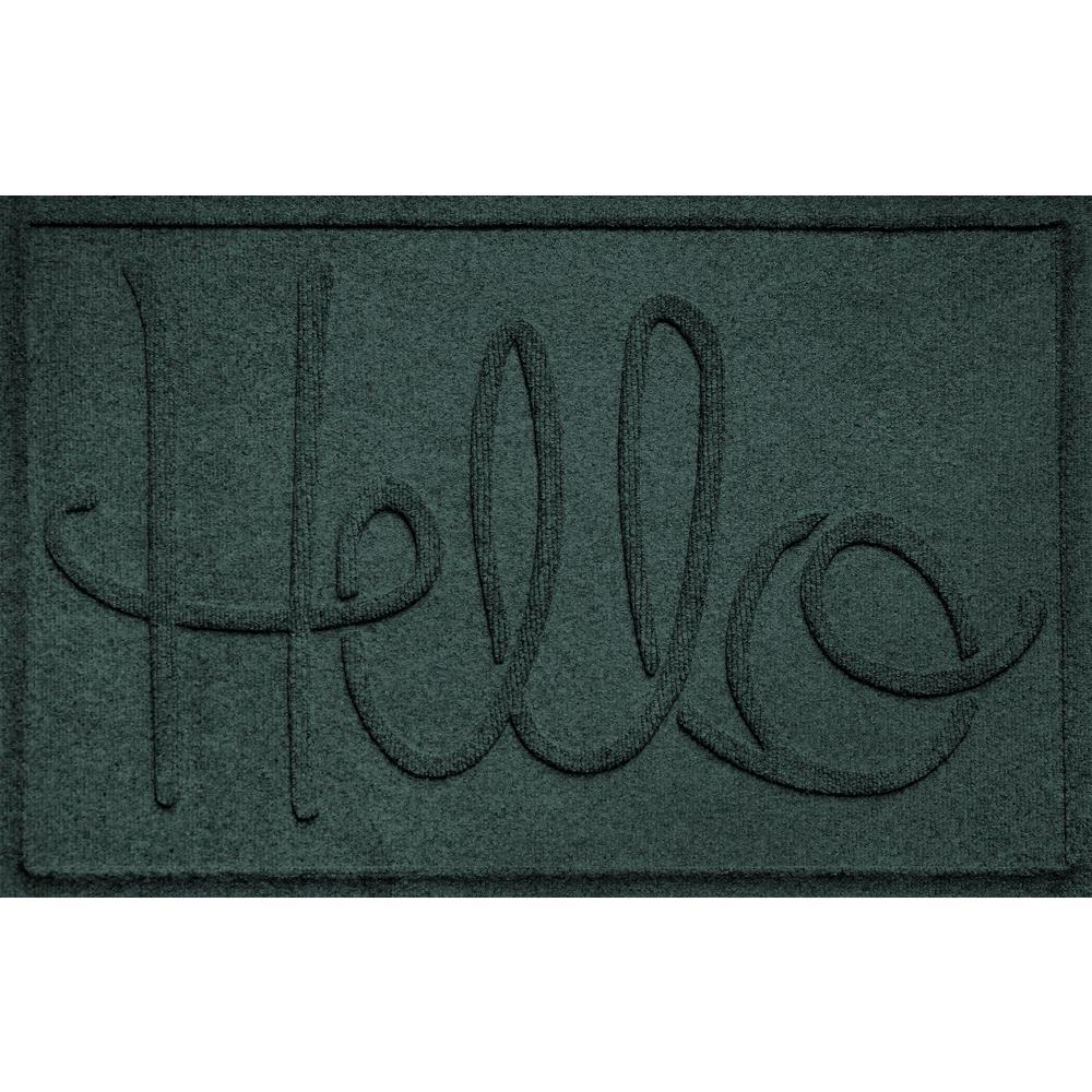 Simple Hello Evergreen 24 in. x 36 in. Polypropylene Door Mat