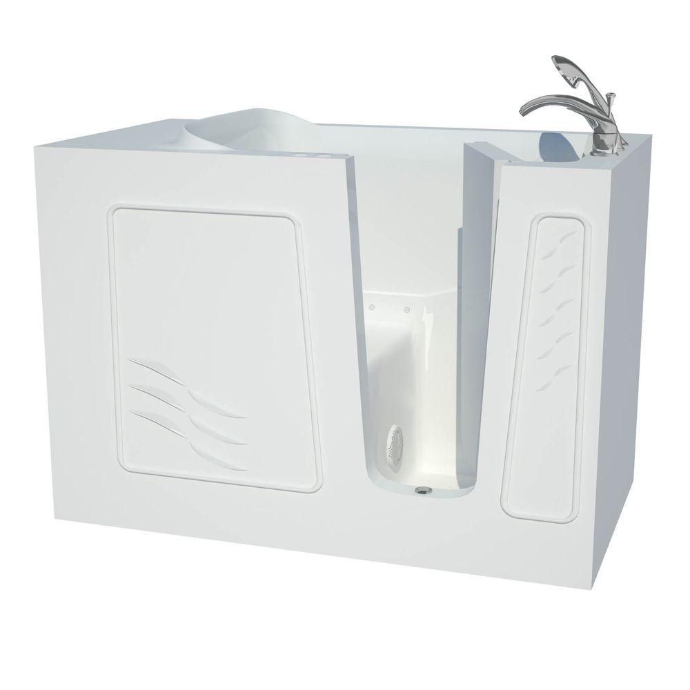 Builder's Choice 53 in. Right Drain Quick Fill Walk-In Air Bath Tub in White
