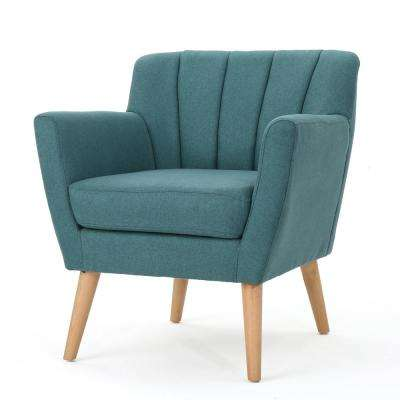 Merel Mid-Century Modern Dark Teal Fabric Club Chair