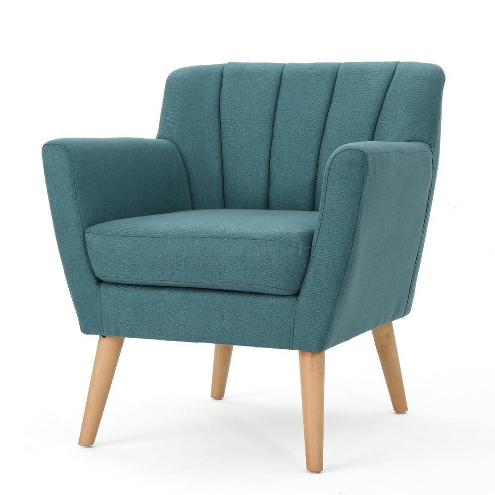 Noble house merel mid century modern dark teal fabric club - Dark teal accent chair ...