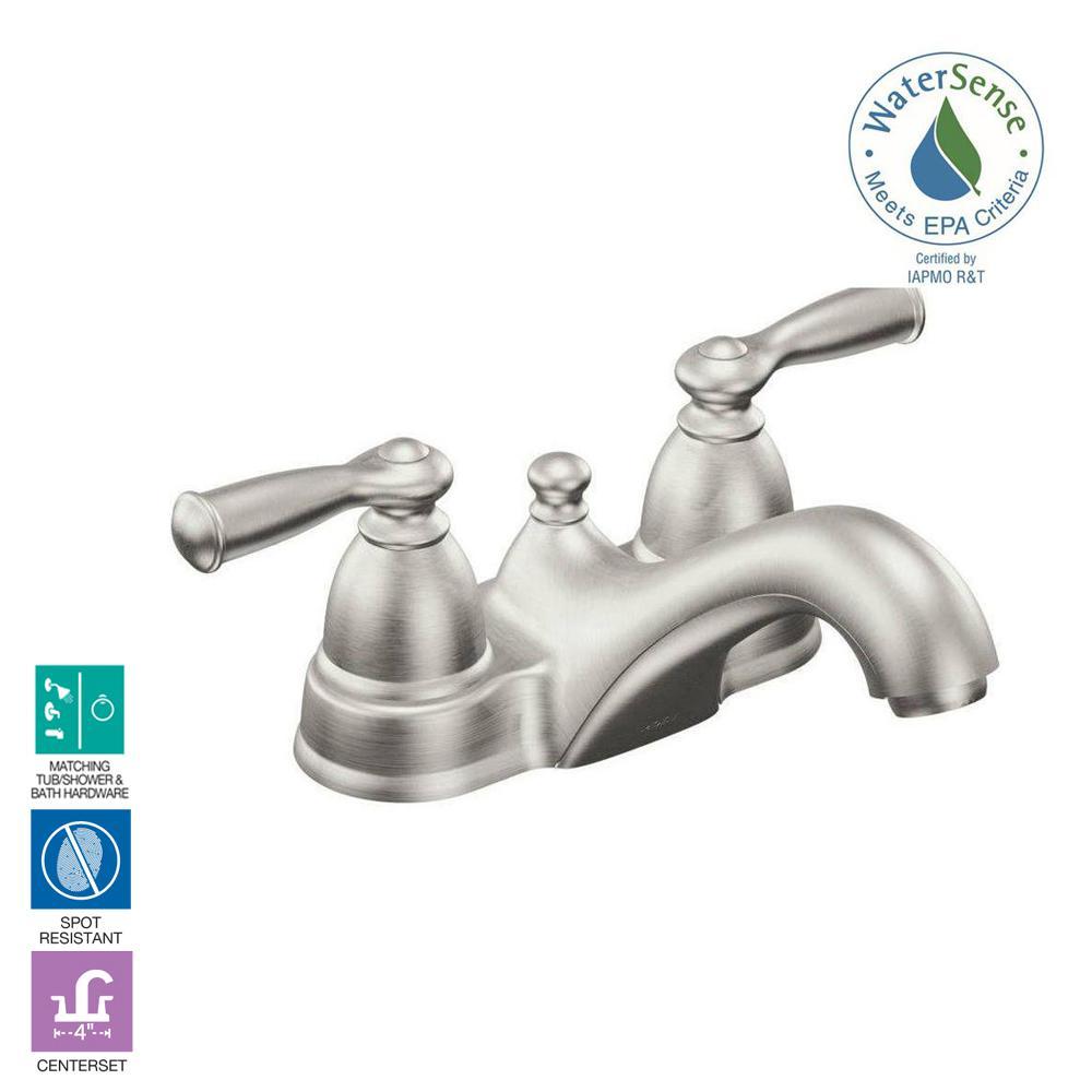 Moen Banbury 4 In Centerset 2 Handle Low Arc Bathroom Faucet In