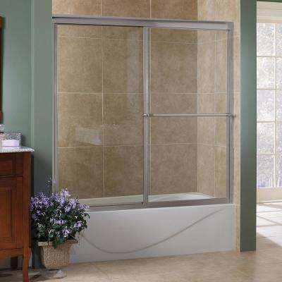 Tides 60 in. x 58 in. Framed Sliding Tub Door in Brushed Nickel with Clear Glass