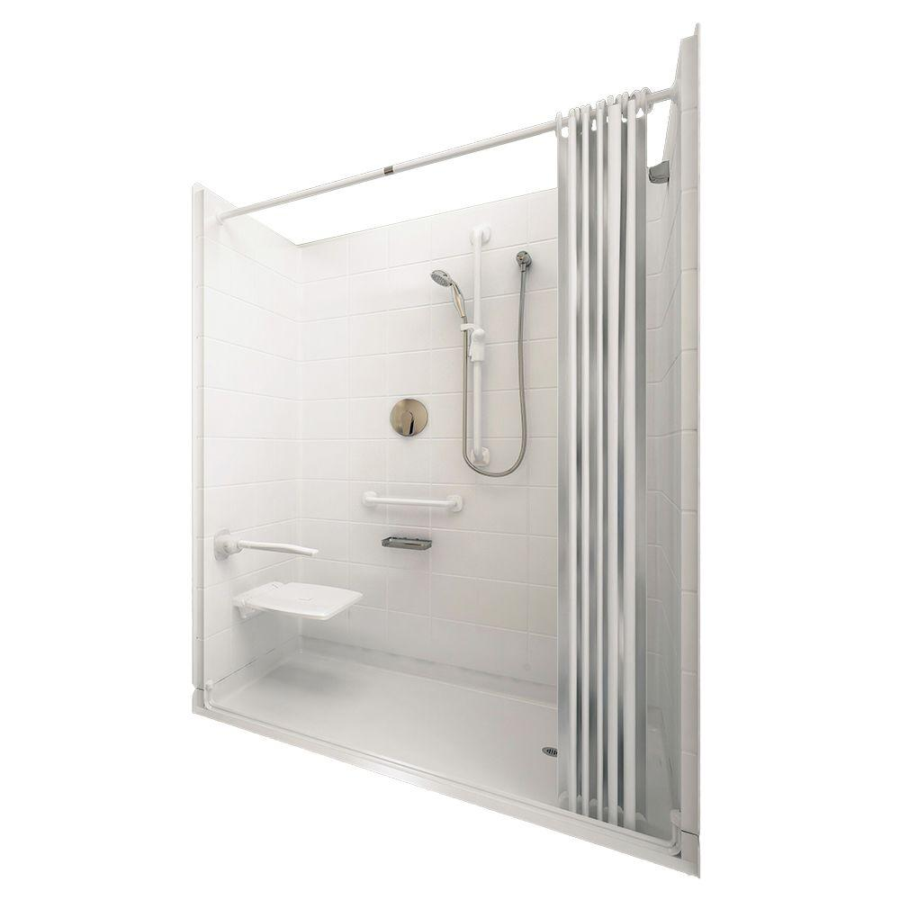 Ella Elite White 37 in. x 60 in. x 77-1/2 in. 5-piece Barrier Free Roll In Shower System in White with Center Drain