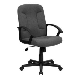 Mid Back Gray Fabric Executive Swivel Office Chair with Nylon Arms   Flash  Furniture  Flash Furniture High Back Black Fabric Executive Swivel Office  . Flash Furniture Mid Back Office Chair Black Leather. Home Design Ideas